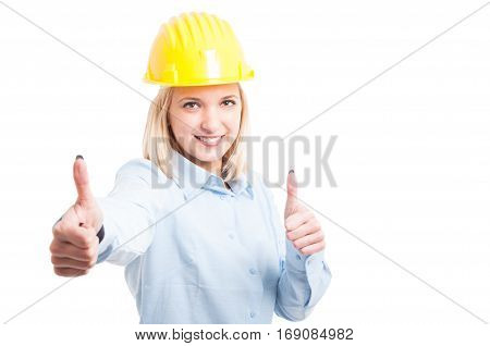 Woman Architect Showing Like Gesture And Smiling