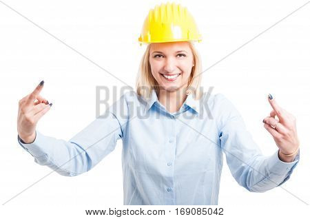 Female Engineer Showing Obscene Gesture With Both Hands