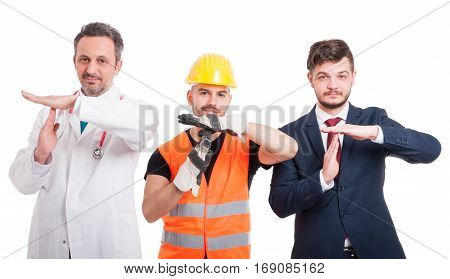 Cheerful Men Doing Time Out Gesture