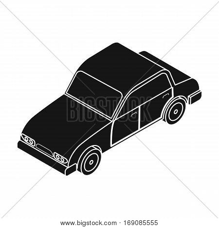 Car icon in black design isolated on white background. Transportation symbol stock vector illustration.