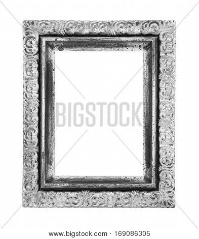 The old antique silver frame isolated on white background