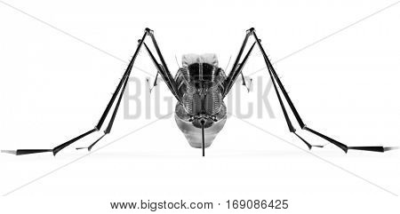 Black isolated mosquito. 3d rendering