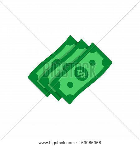 Green dollar banknote in stack. USA currency note symbol. Money cash  symbol.