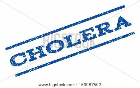Cholera watermark stamp. Text tag between parallel lines with grunge design style. Rotated rubber seal stamp with unclean texture. Vector blue ink imprint on a white background.