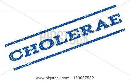 Cholerae watermark stamp. Text caption between parallel lines with grunge design style. Rotated rubber seal stamp with unclean texture. Vector blue ink imprint on a white background.