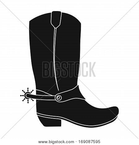 Cowboy boots icon in monochrome design isolated on white background. Rodeo symbol stock vector illustration.