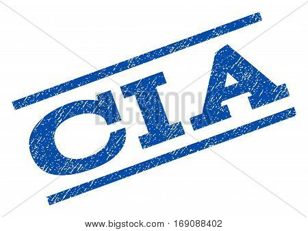 CIA watermark stamp. Text caption between parallel lines with grunge design style. Rotated rubber seal stamp with scratched texture. Vector blue ink imprint on a white background.