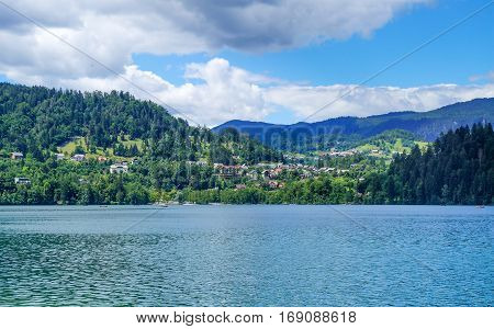 Bled Lake In Slovenia, View At Municipality