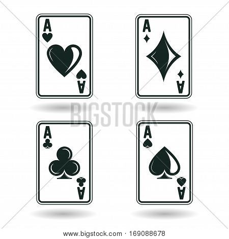 ace playing cards, four  suites, isolated on white background, vector