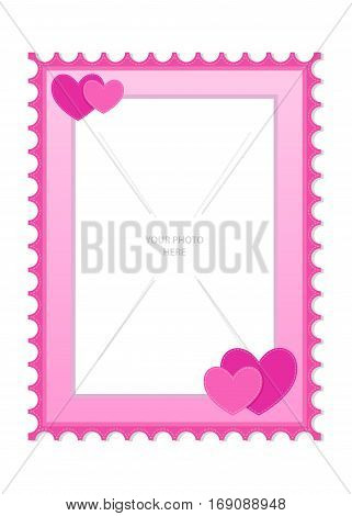 Vector stock of a pink photo frame template with hearts ornament