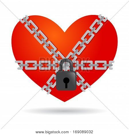 Vector stock of a locked and chained heart secured with padlock