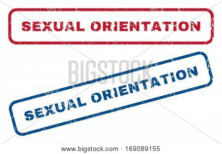 Sexual Orientation text rubber seal stamp watermarks. Vector style is blue and red ink tag inside rounded rectangular banner. Grunge design and scratched texture. Blue and red emblems.