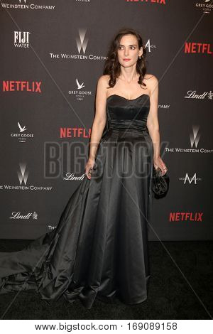LOS ANGELES - JAN 8:  Winona Ryder at the Weinstein And Netflix Golden Globes After Party at Beverly Hilton Hotel Adjacent on January 8, 2017 in Beverly Hills, CA