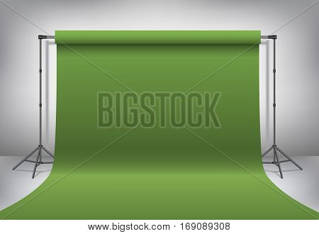 Empty photo studio. Realistic template mock up. Backdrop stand (tripods) with dark green paper backdrop. Gray background. Vector illustration.