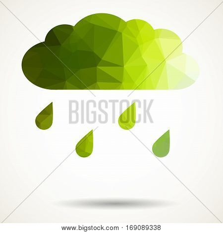 Abstract colorful geometric triangular cloud with raindrops.