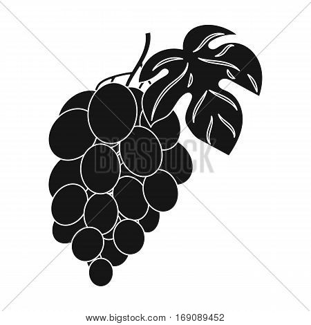 Bunch of grapes icon in black design isolated on white background. Wine production symbol stock vector illustration.