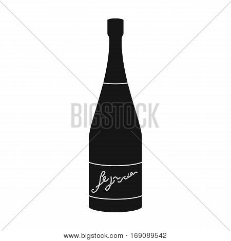 Bottle of champagne icon in black design isolated on white background. Wine production symbol stock vector illustration.