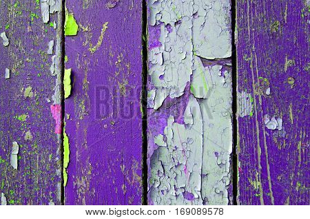 Texture wooden background of old wooden texture planks with peeling texture paint.Texture of peeling paint on the wood. Old wooden texture background surface.Rough peeling paint texture background. Wooden texture background