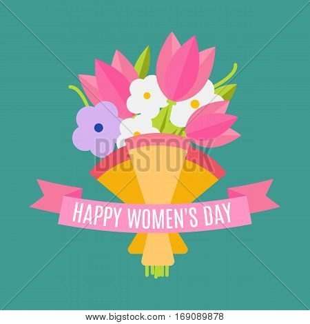 Wedding bouquet flowers vector illustration. Happy women's day. Beautiful wedding congratulation bouquet isolated on background. Wedding bouquet flat style. Wedding flowers isolated vector