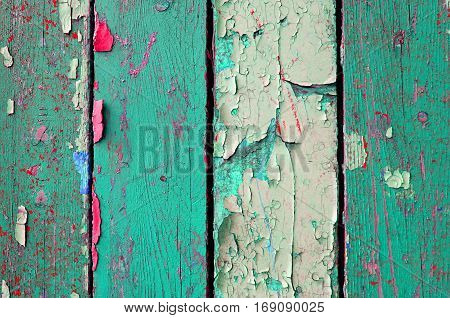 Texture wooden background of old weathered texture planks with peeling texture paint. Texture surface of old texture weathered wood
