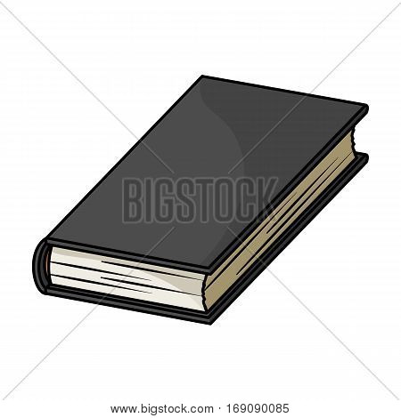 Black book icon in cartoon design isolated on white background. Books symbol stock vector illustration.