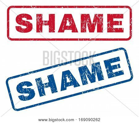 Shame text rubber seal stamp watermarks. Vector style is blue and red ink tag inside rounded rectangular banner. Grunge design and dust texture. Blue and red emblems.
