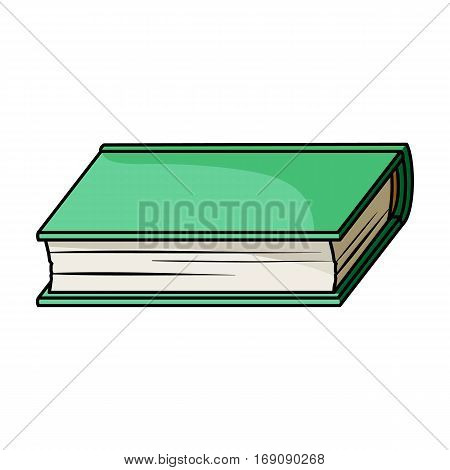 Green book icon in cartoon design isolated on white background. Books symbol stock vector illustration.