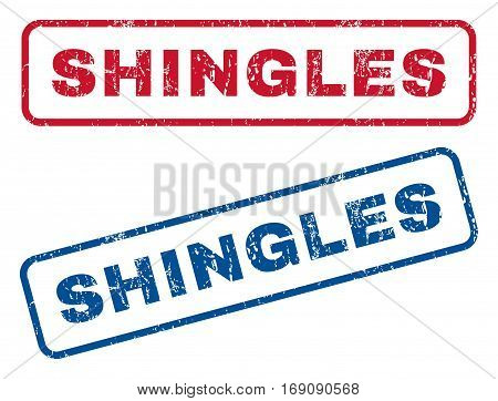 Shingles text rubber seal stamp watermarks. Vector style is blue and red ink tag inside rounded rectangular shape. Grunge design and scratched texture. Blue and red stickers.