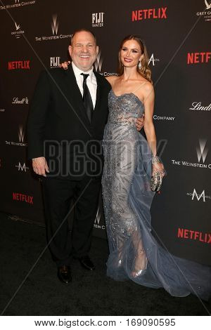 LOS ANGELES - JAN 8:  Harvey Weinstein, Georgina Chapman at the Weinstein And Netflix Golden Globes After Party at Beverly Hilton Hotel Adjacent on January 8, 2017 in Beverly Hills, CA