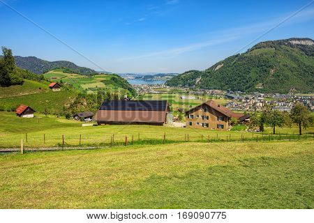Stans, Switzerland - 8 May, 2016: view from the foot of Mt. Stanserhorn towards Lake Lucerne. Stanserhorn is a mountain, located in the Swiss canton of Nidwalden, close to its border with the canton of Obwalden.