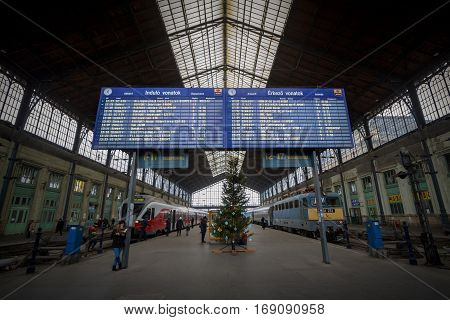 Budapest, Hungary - December 18, 2016: Departures board in the train station of Budapest Nyugati, in Hungary
