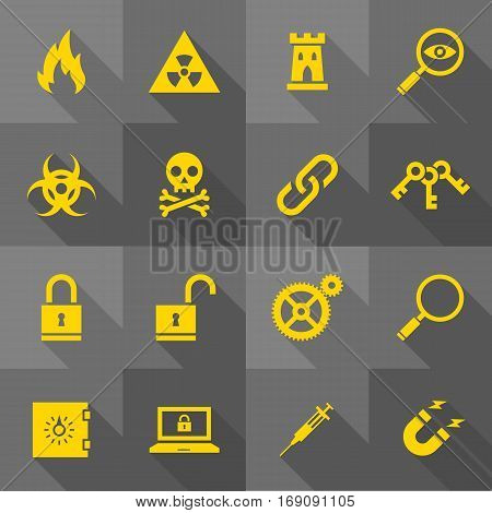 Vector Flat Icon Set - Security Signs