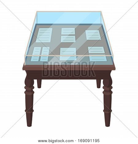 Showcase with old documents icon in cartoon design isolated on white background. Library and bookstore symbol stock vector illustration.