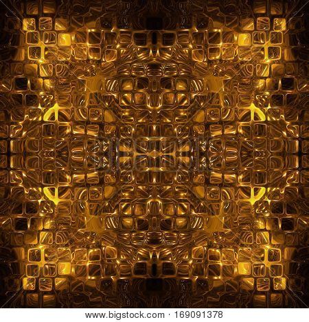 Golden cube shape pattern as abstract background.Digitally generated image.