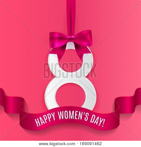 8 March, International Women's Day background with silk ribbon and bow, paper number 8 with shadow.  Greeting card for women or mother's day. Vector illustration