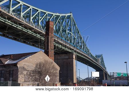 Jacques Cartier bridge on a sunny winter day