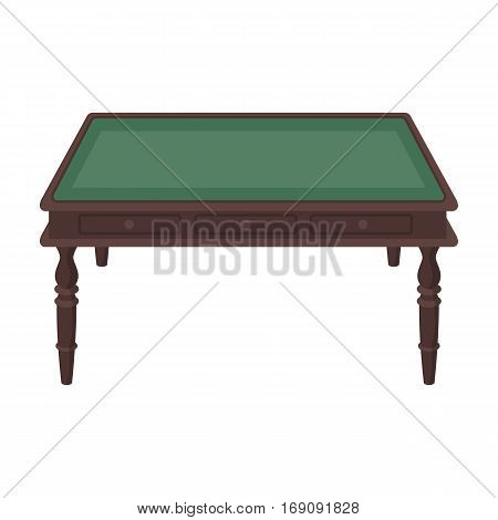 Wooden table icon in cartoon design isolated on white background. Library and bookstore symbol stock vector illustration.