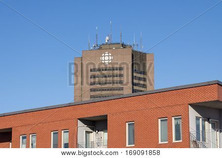Montreal, Canada - December 25, 2016: Radio Canada - Canadian Broadcasting Corporation (CBC) headquarters for Quebec in Montreal, Canada