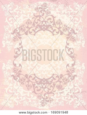 vintage style background in shades of pink and beige with floral roses frame