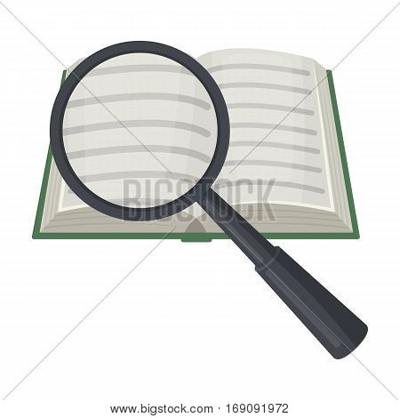 Seraching of information in the book icon in cartoon design isolated on white background. Library and bookstore symbol stock vector illustration.