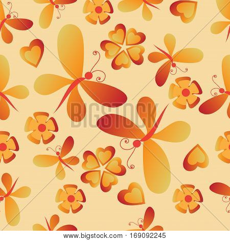 Flowers, butterflies and hearts. Seamless pattern. Composition for textile, tapestries, festive decorative packaging, cover art, website background.