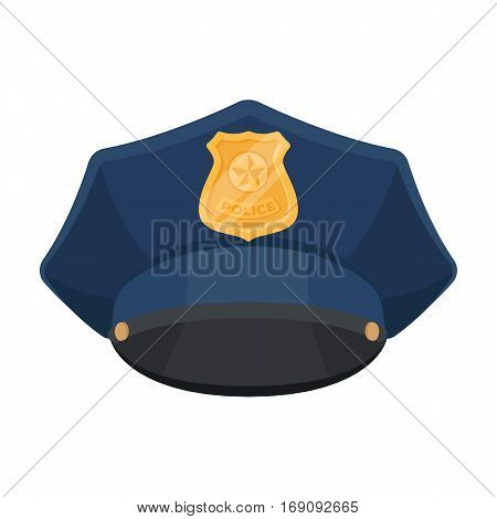 Police cap icon in cartoon design isolated on white background. Police symbol stock vector illustration.