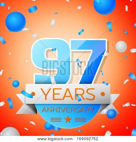 Ninety seven years anniversary celebration on orange background. Anniversary ribbon