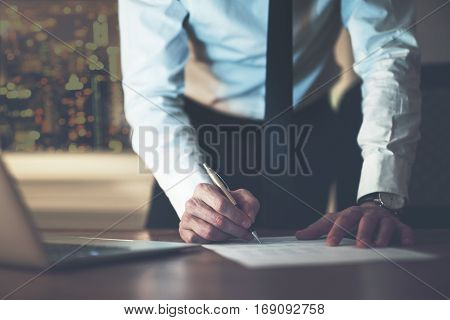 Close Up Business Man Signing Contract
