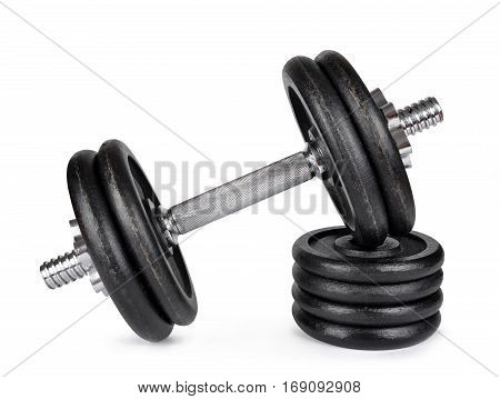 Black dumbbell with metal discs isolated on white background