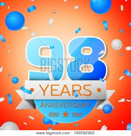 Ninety eight years anniversary celebration on orange background. Anniversary ribbon