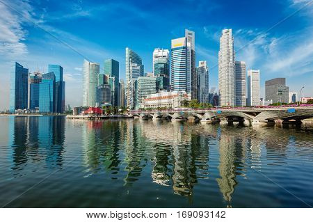 Singapore business district skyscrapers skyline and Marina Bay in day