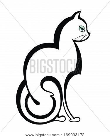 Black cat for your design. Vector cat symbol