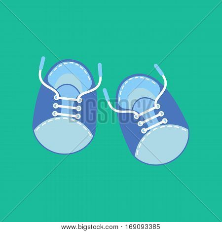 Baby boy shoes on the green background. Vector illustration