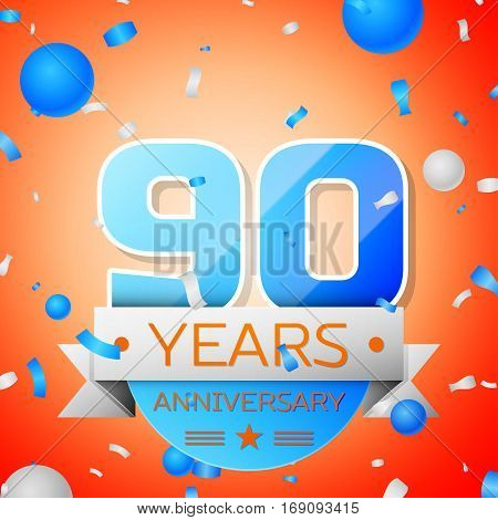 Ninety years anniversary celebration on orange background. Anniversary ribbon